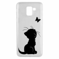 Чохол для Samsung J6 Котик з метеликом