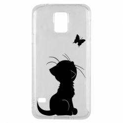Чохол для Samsung S5 Котик з метеликом