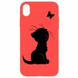 Чохол для iPhone XR Котик з метеликом
