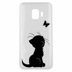 Чохол для Samsung J2 Core Котик з метеликом