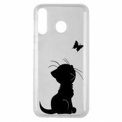 Чохол для Samsung M30 Котик з метеликом