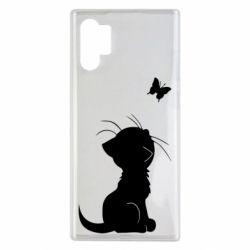 Чохол для Samsung Note 10 Plus Котик з метеликом