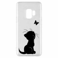 Чохол для Samsung S9 Котик з метеликом