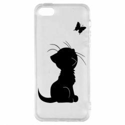 Чохол для iphone 5/5S/SE Котик з метеликом