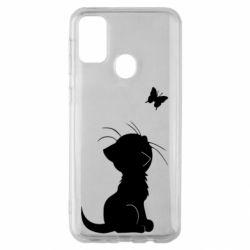 Чохол для Samsung M30s Котик з метеликом