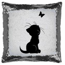 Подушка-хамелеон Котик з метеликом