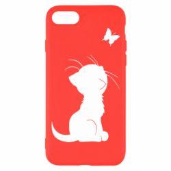 Чохол для iPhone 7 Котик з метеликом