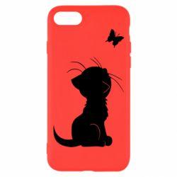 Чохол для iPhone 8 Котик з метеликом