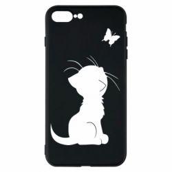 Чохол для iPhone 8 Plus Котик з метеликом