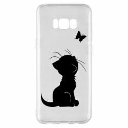 Чохол для Samsung S8+ Котик з метеликом