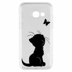 Чохол для Samsung A3 2017 Котик з метеликом