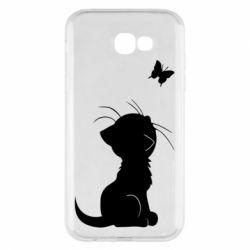 Чохол для Samsung A7 2017 Котик з метеликом