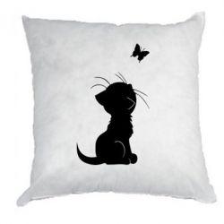 Подушка Котик с бабочкой - FatLine