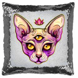 Подушка-хамелеон Котик сфінкс рожевий