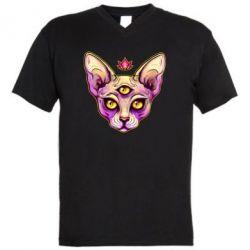 Чоловіча футболка з V-подібним вирізом Котик сфінкс рожевий