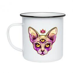 Кружка емальована Котик сфінкс рожевий