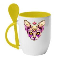 Кружка з керамічною ложкою Котик сфінкс рожевий