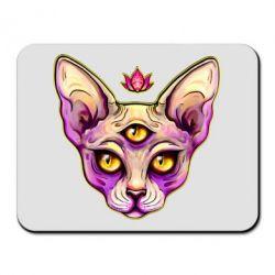 Килимок для миші Котик сфінкс рожевий