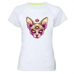 Жіноча спортивна футболка Котик сфінкс рожевий