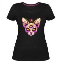 Жіноча стрейчева футболка Котик сфінкс рожевий
