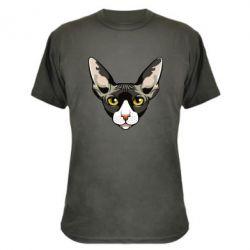 Камуфляжна футболка Котя сфінкс жовті очі