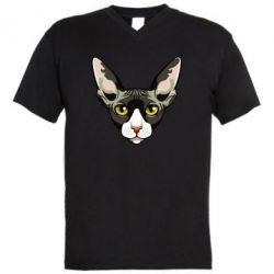 Чоловіча футболка з V-подібним вирізом Котя сфінкс жовті очі
