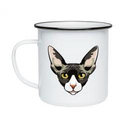 Кружка емальована Котя сфінкс жовті очі