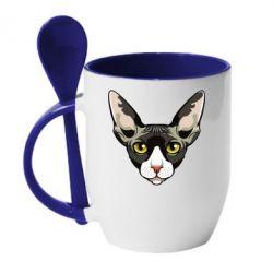 Кружка з керамічною ложкою Котя сфінкс жовті очі