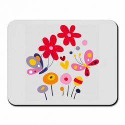 Коврик для мыши Flowers and Butterflies