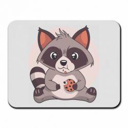 Килимок для миші Raccoon with cookies
