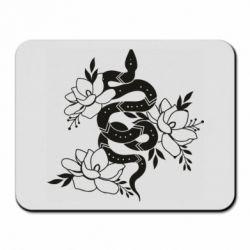 Килимок для миші Snake with flowers