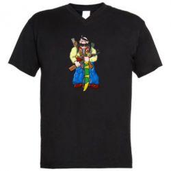 Мужская футболка  с V-образным вырезом Козак и ак-47 - FatLine