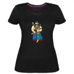 Женская стрейчевая футболка Козак и ак-47 - FatLine