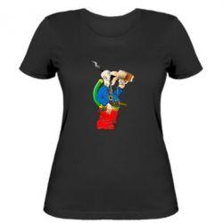 Жіноча футболка Козак п'є пиво