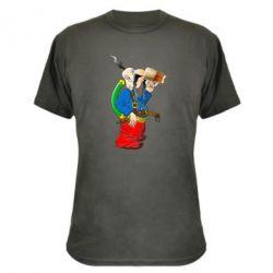 Камуфляжна футболка Козак п'є пиво