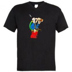 Чоловіча футболка з V-подібним вирізом Козак п'є пиво