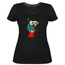 Жіноча стрейчева футболка Козак п'є пиво