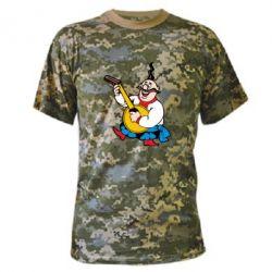 Камуфляжная футболка Козак с бандурой - FatLine