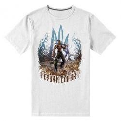 Чоловіча стрейчева футболка Козак зі зброєю на тлі тризуба
