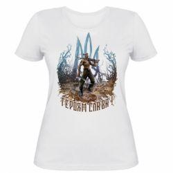 Жіноча футболка Козак зі зброєю на тлі тризуба