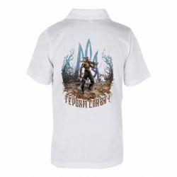 Дитяча футболка поло Козак зі зброєю на тлі тризуба