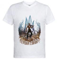 Чоловіча футболка з V-подібним вирізом Козак зі зброєю на тлі тризуба