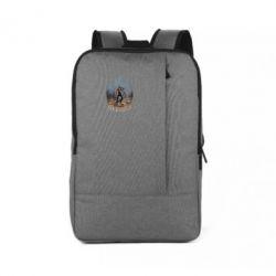 Рюкзак для ноутбука Козак зі зброєю на тлі тризуба