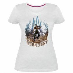 Жіноча стрейчева футболка Козак зі зброєю на тлі тризуба