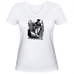 Женская футболка с V-образным вырезом Козак у камишу - FatLine
