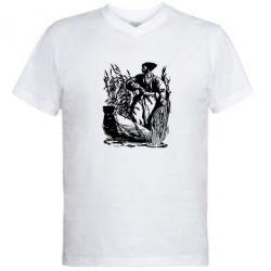 Мужская футболка  с V-образным вырезом Козак у камишу - FatLine