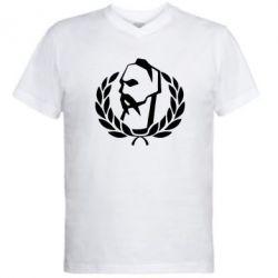 Мужская футболка  с V-образным вырезом Козак у вінку - FatLine
