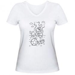 Женская футболка с V-образным вырезом Козак з м'ячем - FatLine