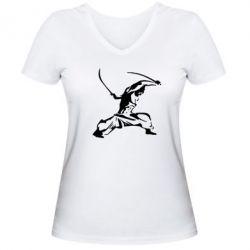Женская футболка с V-образным вырезом Козак з шаблями - FatLine