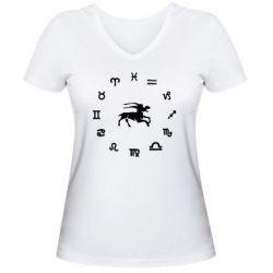 Женская футболка с V-образным вырезом козерог - FatLine